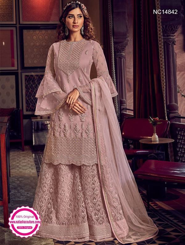 Mauve Pink Net Sharara Pants Suit NC14842