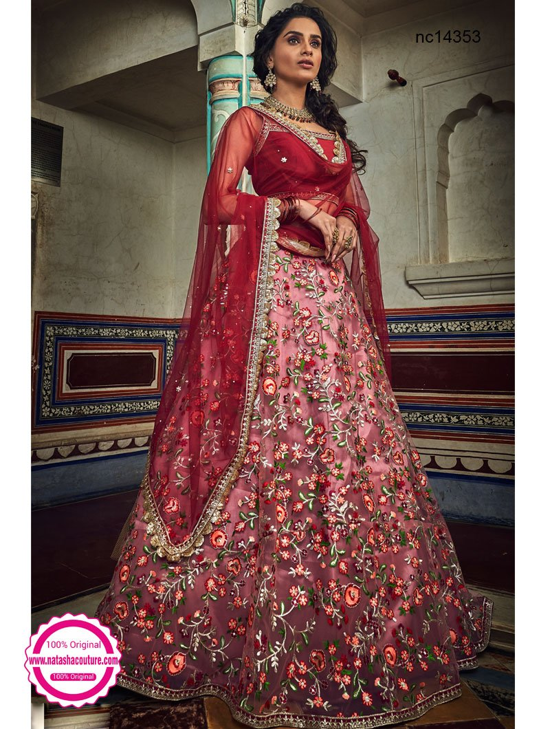Mauve Pink & Red Net Lehenga Choli NC14353