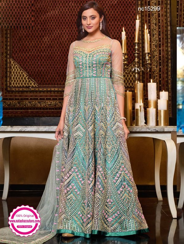 Mint Blue Net Anarkali Suit NC15299