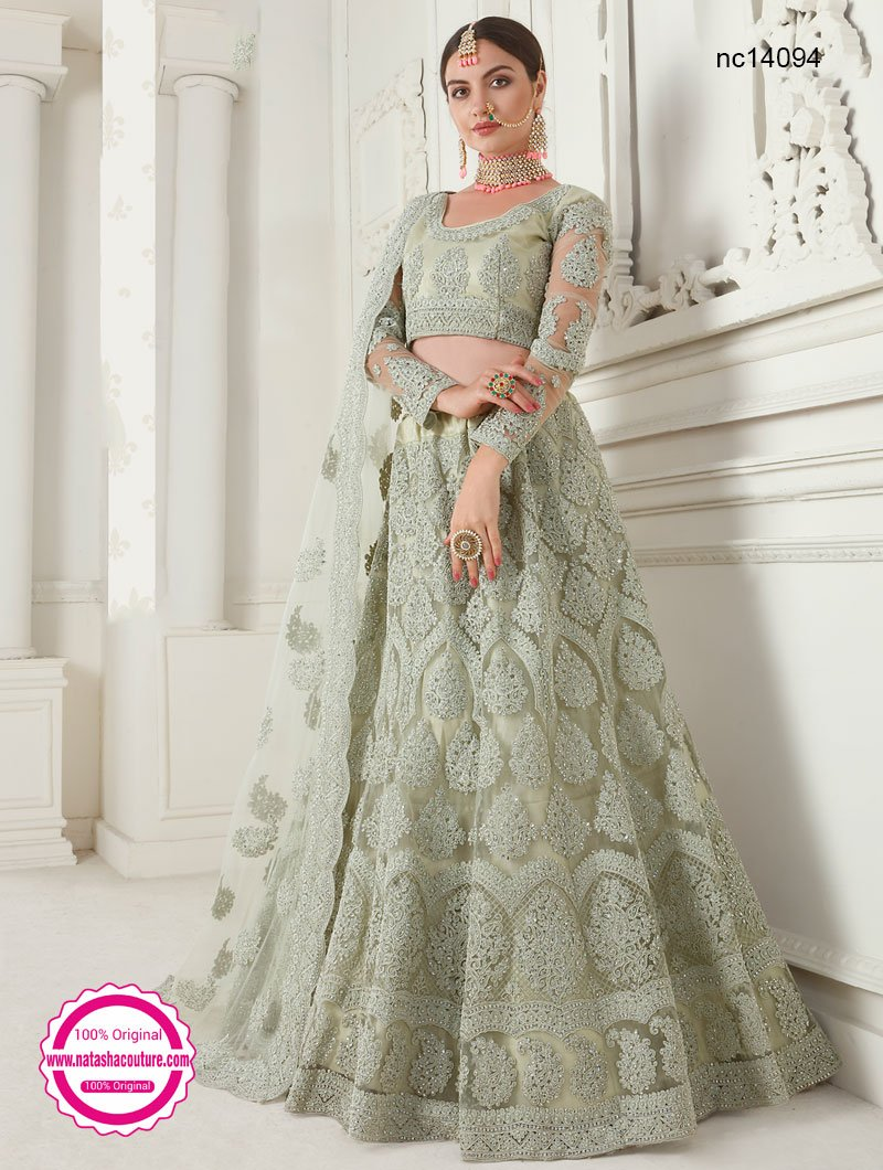 Mint Green Net Lehenga Choli NC14094