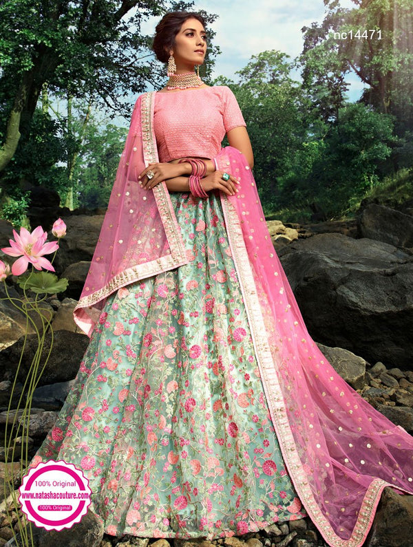 Mint Green Net Lehenga Choli NC14471