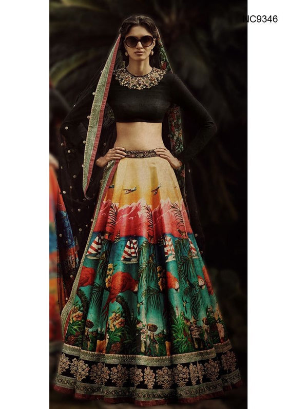 Multicolor Art Silk & Velvet Bollywood Lehenga Choli NC9346
