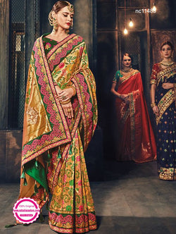 Multicolored Benarasi Silk Saree NC11483