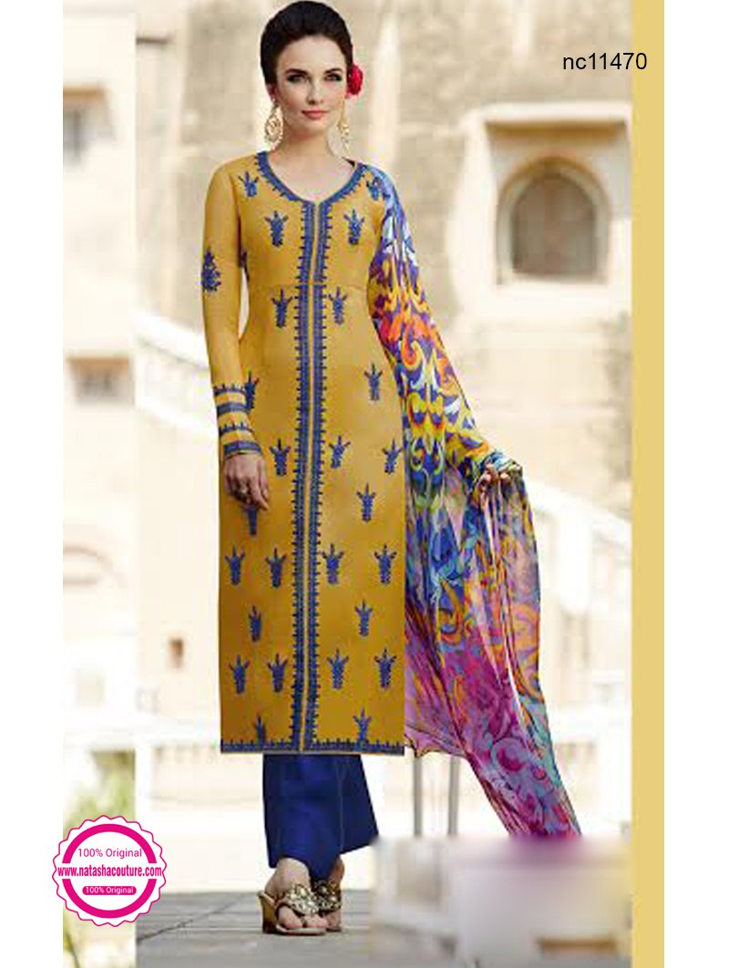 Mustard & Blue Cotton & Satin Designer Pant Style Suit NC11470