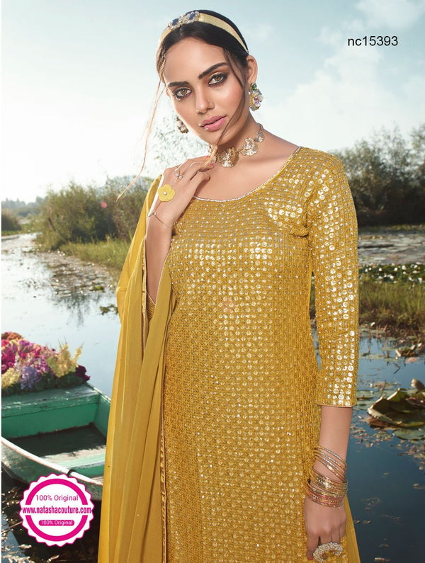 Mustard Georgette Palazzo Suit NC15393