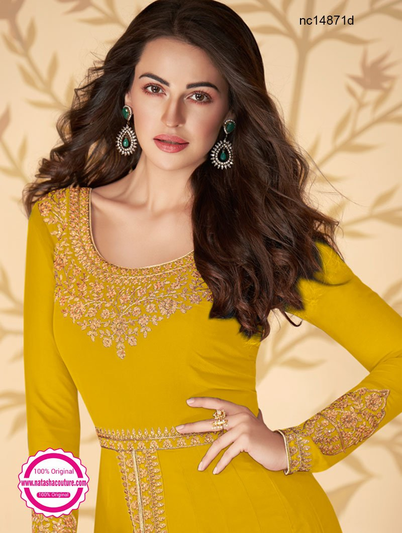 Mustard Georgette Pant Style Suit NC14871D