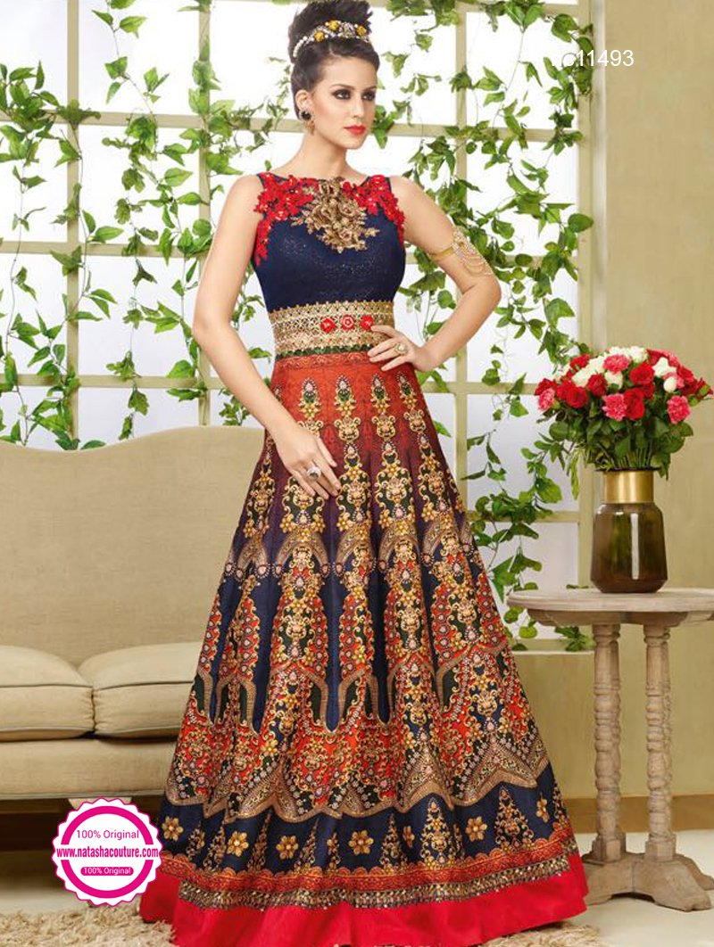 Navy Blue Bhagalpuri Silk Printed Anarkali NC11493