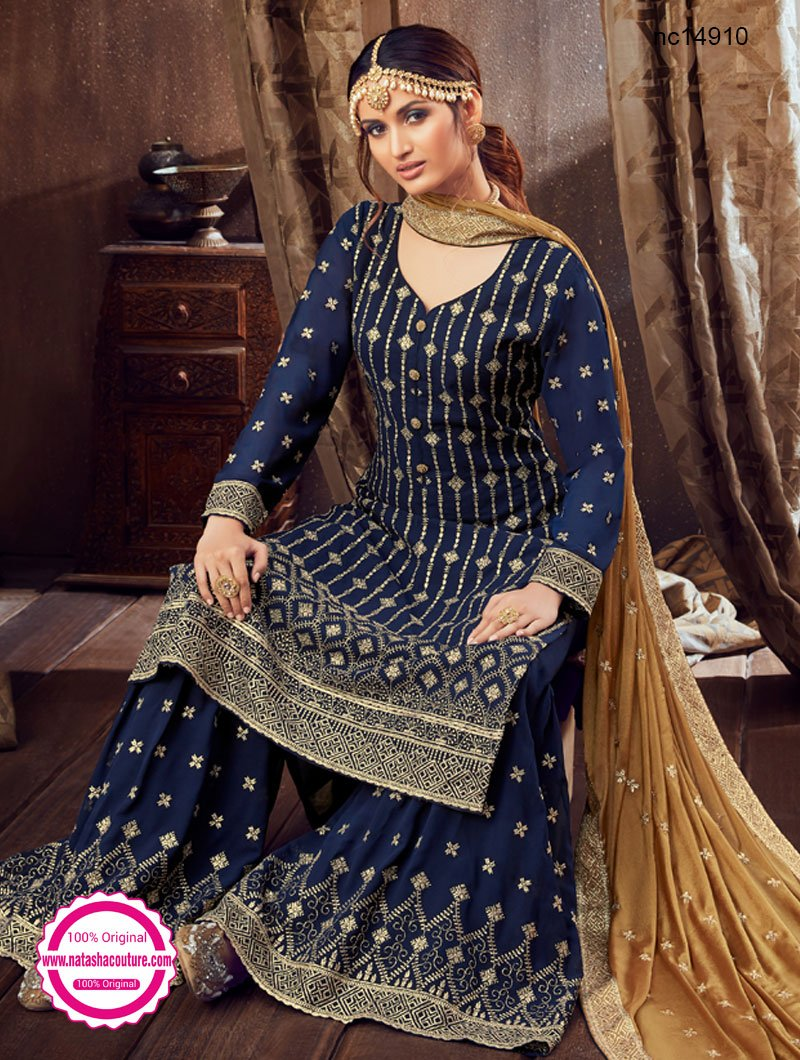 Navy Blue Georgette Palazzo Suit NC14910