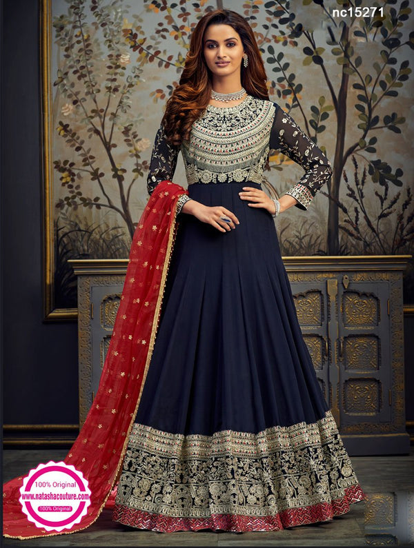 Navy Blue Georgette & Velvet Anarkali Suit NC15271
