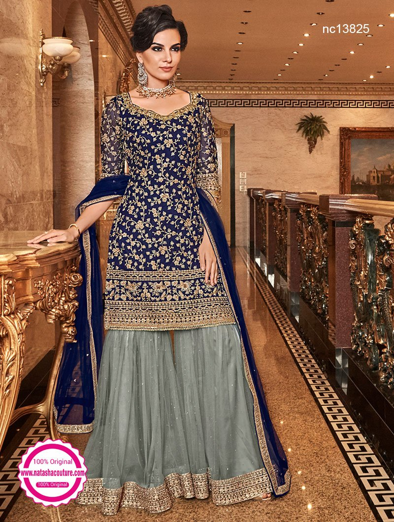 Navy Blue & Grey Net Palazzo Suit NC13825