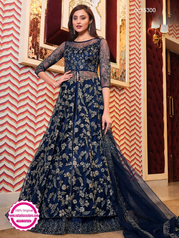 Navy Blue Net Front Slit Gown Style Anarkali Suit NC15300