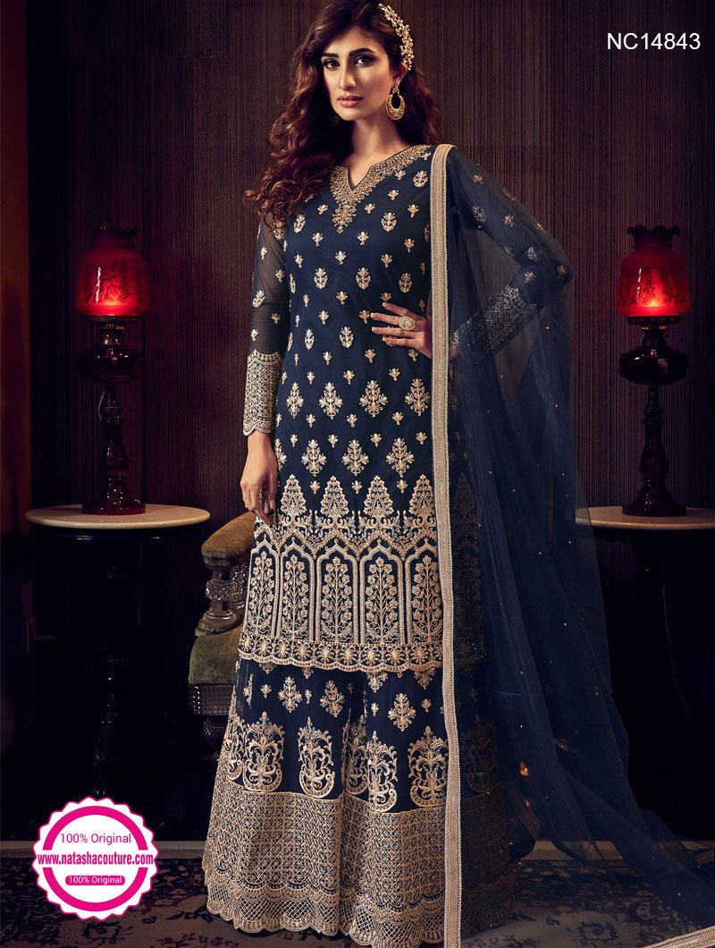 Navy Blue Net Sharara Pants Suit NC14843