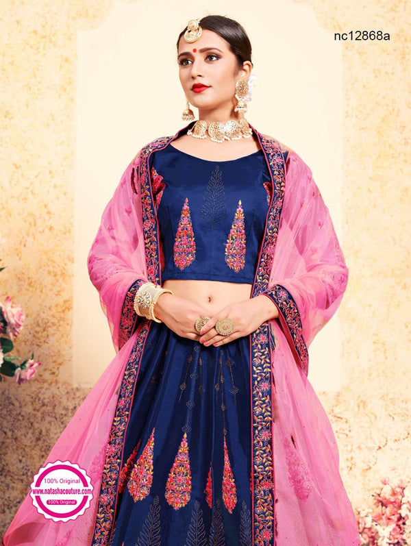 Navy Blue & Pink Satin Lehenga Choli NC12868A