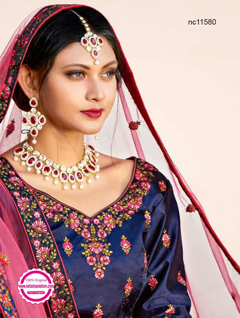 Navy Blue Pure Satin Lehenga Choli NC11580