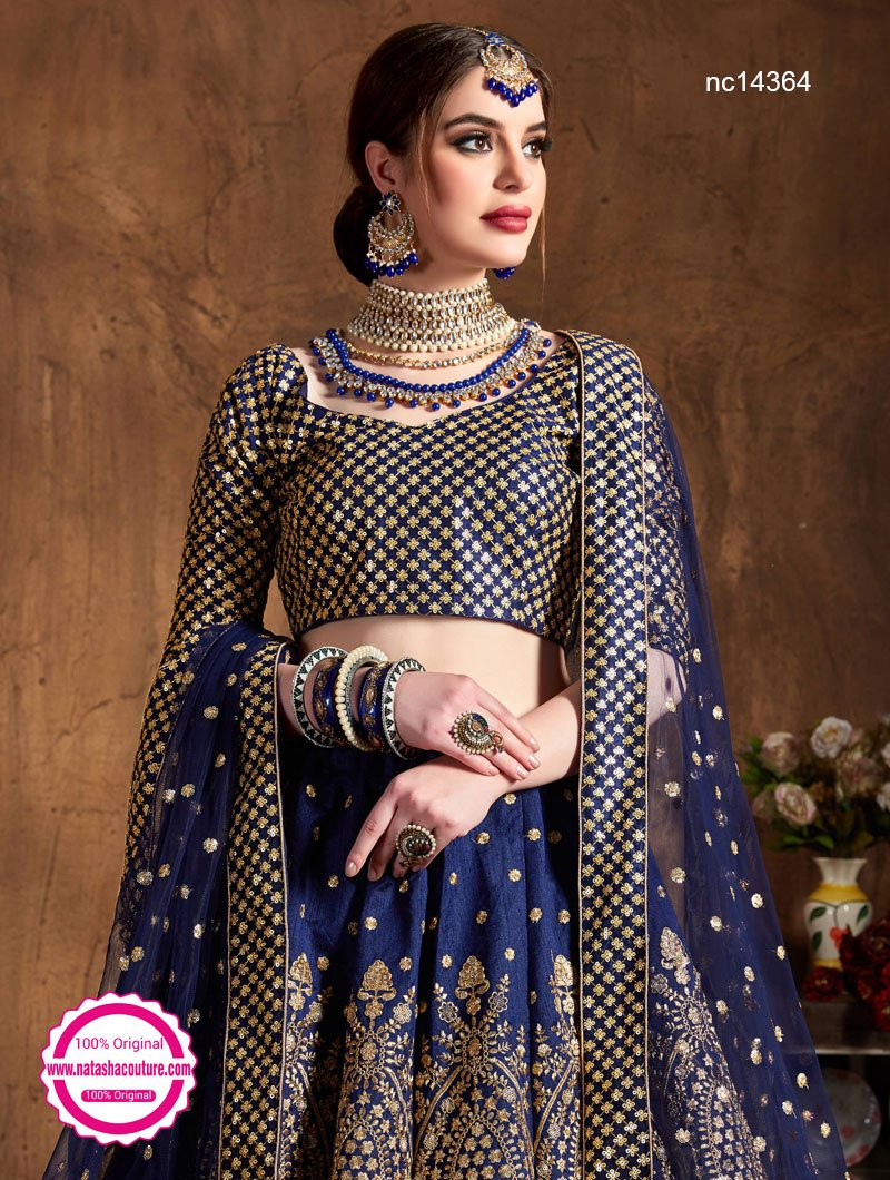 Navy Blue Raw Silk Lehenga Choli NC14364