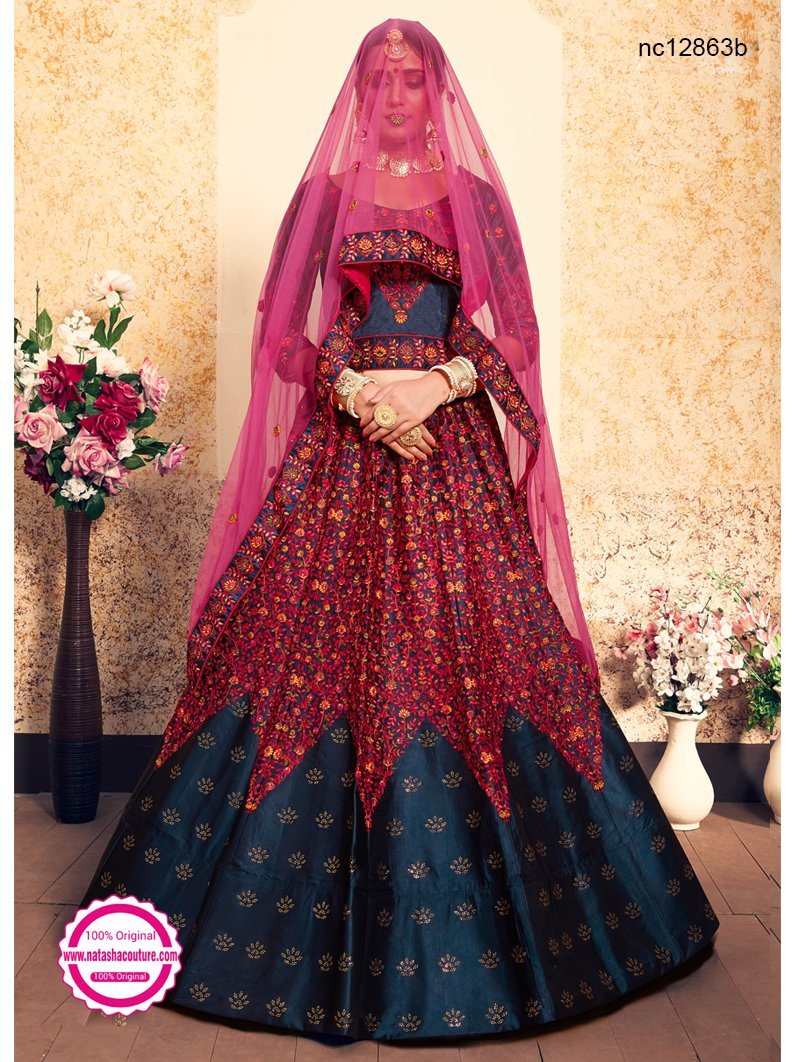 Navy Blue Satin Lehenga Choli NC12863B