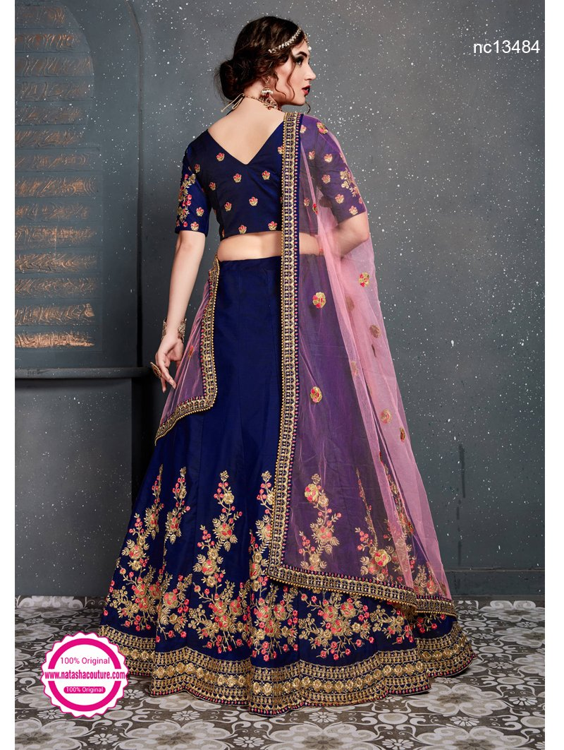 Navy Blue Satin Silk Lehenga Choli NC13484