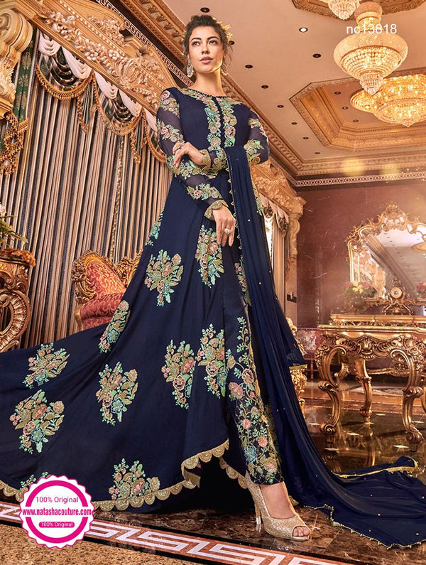 Navy Blue Satin Silk Pant Style Suit NC13818