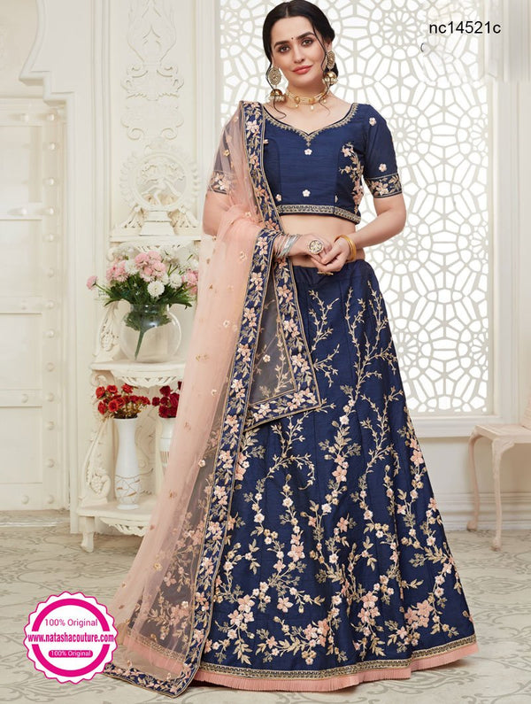 Navy Blue Silk Bridal Lehenga Choli NC14521C