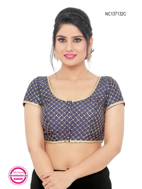 Navy Blue Silk Designer Readymade Blouse NC137132C