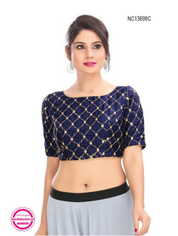 Navy Blue Silk Embroidered Readymade Blouse NC13699C