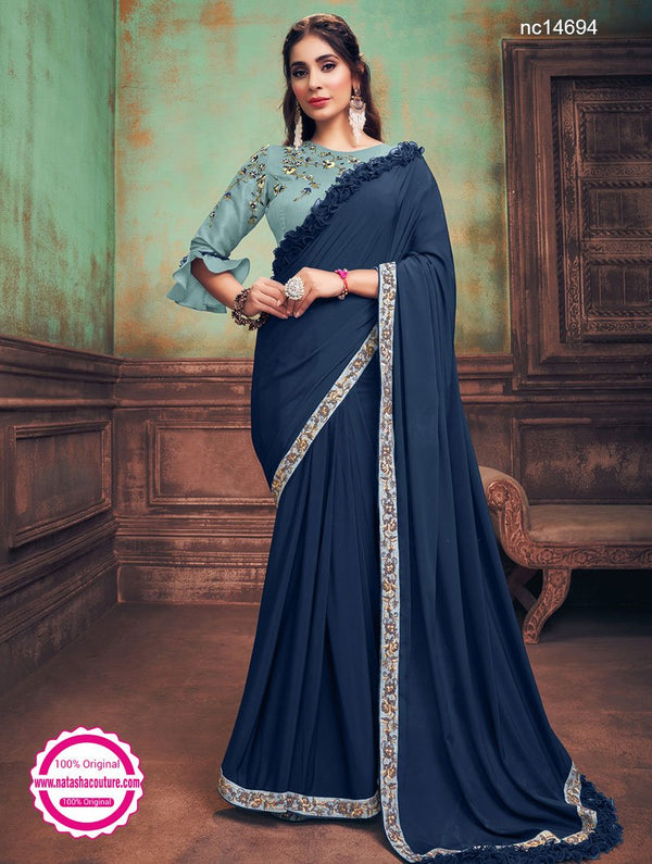 Navy Blue Silk Georgette Saree NC14694