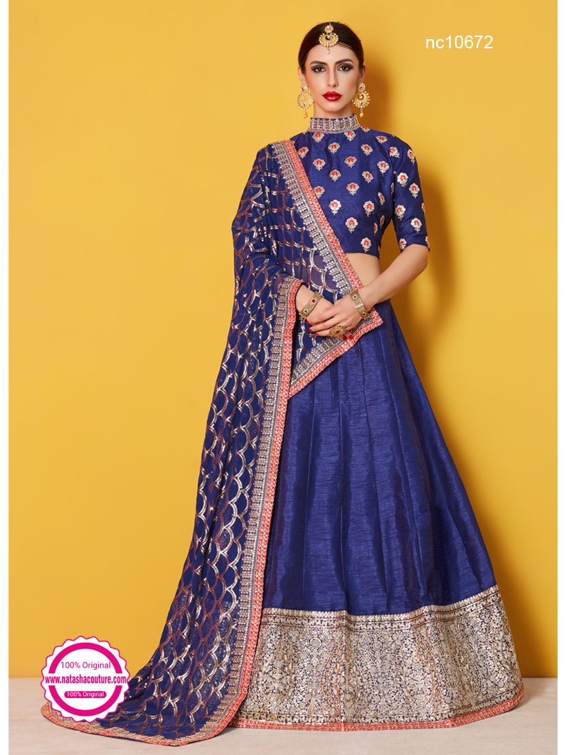 Navy Blue Silk Lehenga Choli NC10672