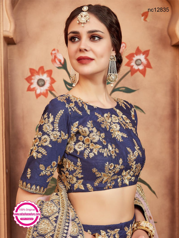 Navy Blue Silk Lehenga Choli NC12835
