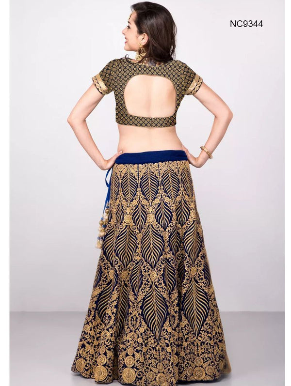 Navy Blue Silk & Velvet Bollywood Lehenga Choli NC9344