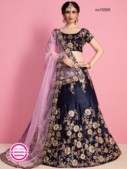 Navy Blue Velvet Silk Lehenga Choli NC10595