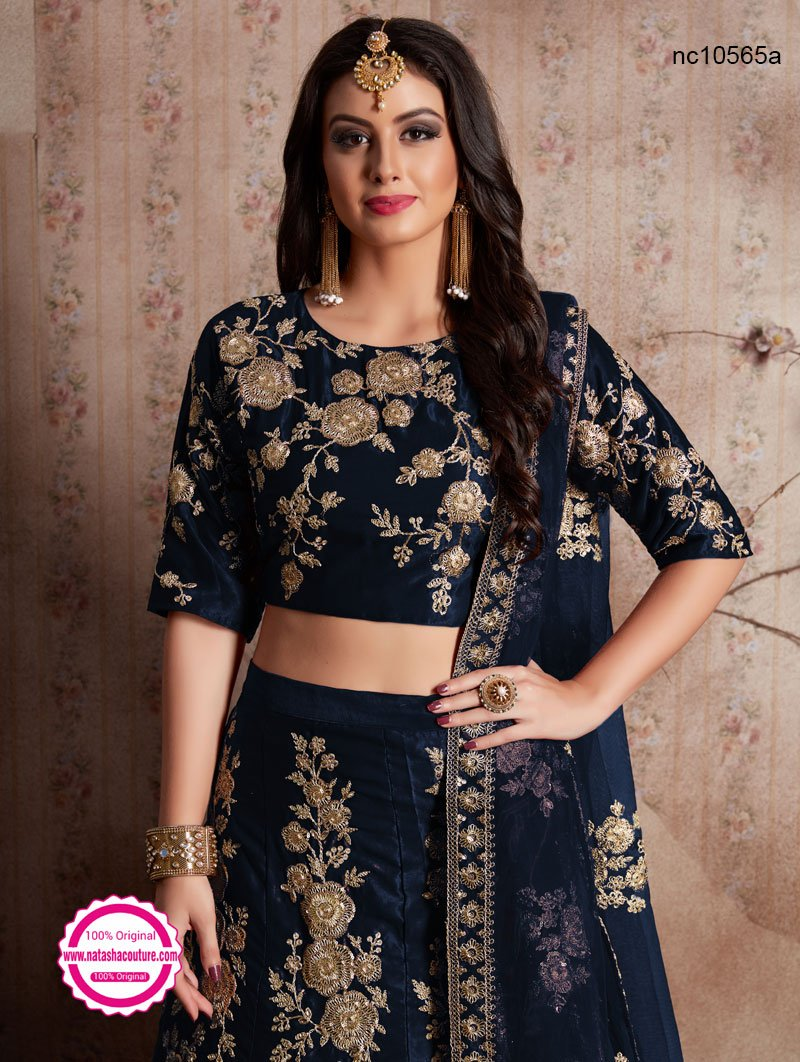 Navy Blue Velvet Silk Wedding Lehenga Choli NC10565A