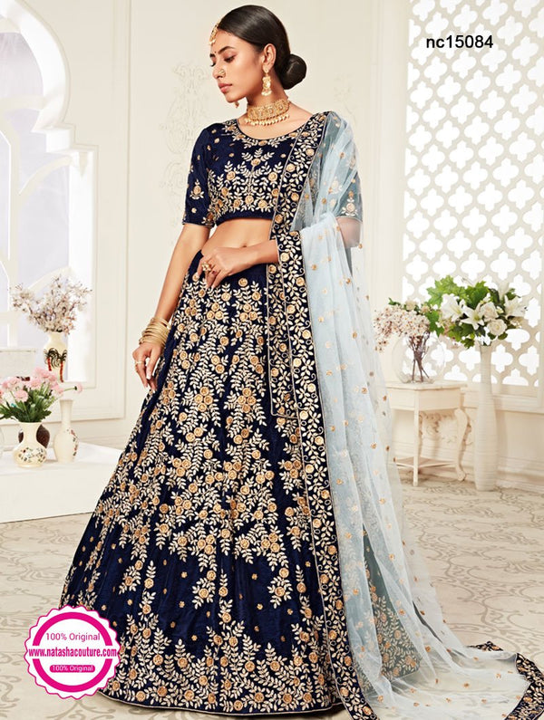 Navy Blue Velvet Wedding Lehenga Choli NC15084
