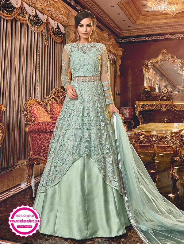 Light Sea Green Net & Satin Lehenga & Palazzo Suit NC13823A