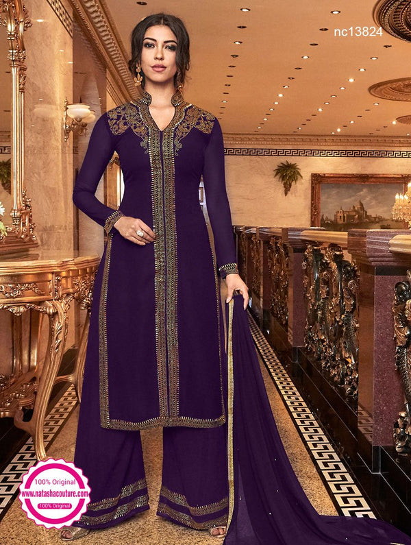 Purple Georgette Palazzo Suit NC13824