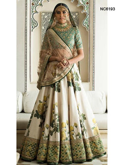 Off White & Green Silk Floral Bollywood Lehenga Choli NC6193