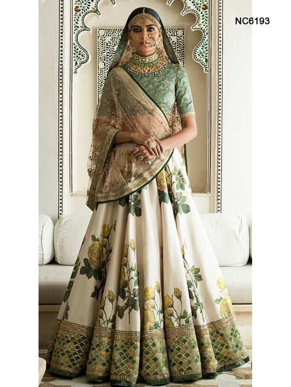 Off White & Blue Silk Floral Bollywood Lehenga Choli NC6193