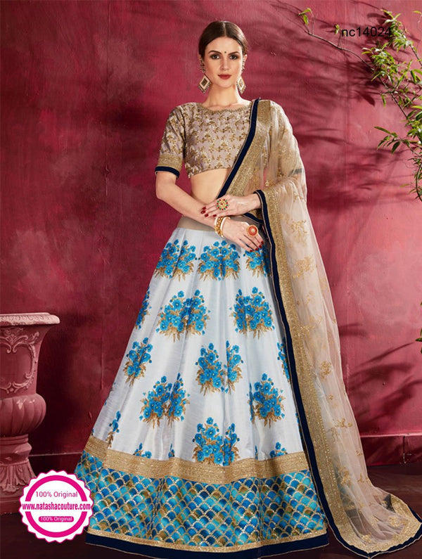 Off White & Blue Silk Floral Lehenga Choli NC14024
