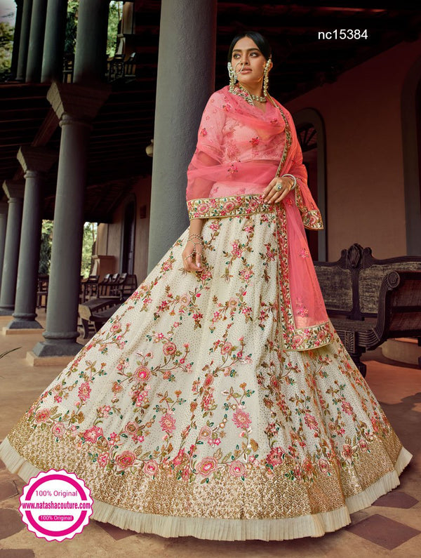 Off White Georgette Embroidered Lehenga Choli NC15384
