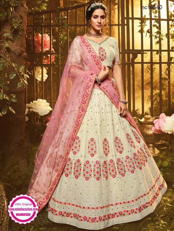 Off White Georgette Lehenga Choli NC14540