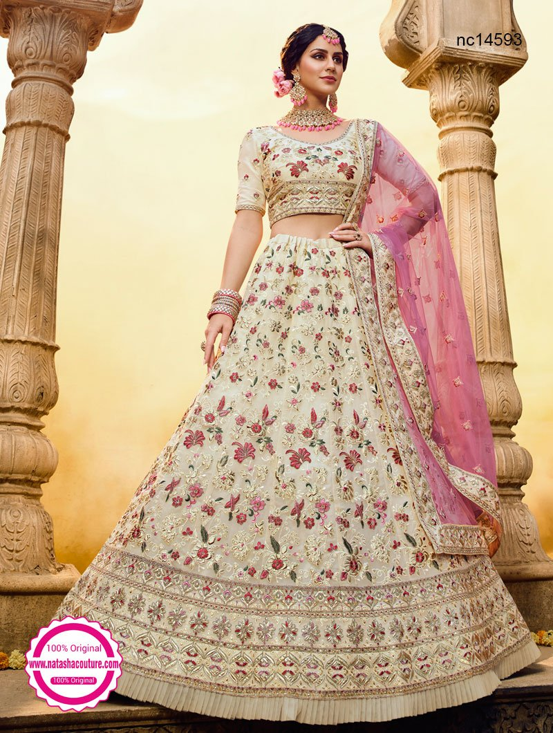 Off White Georgette Lehenga Choli NC14593