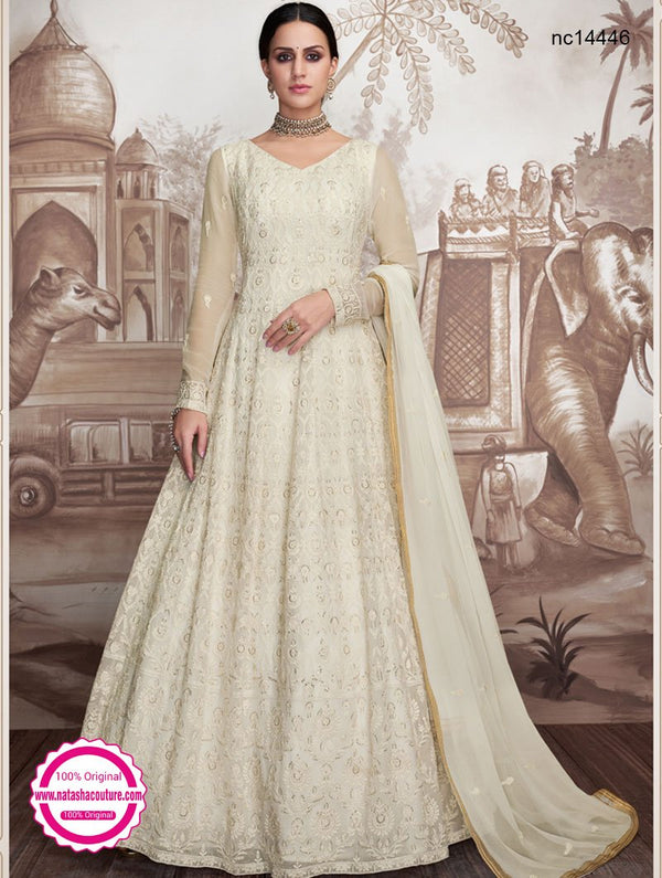 Off White Georgette Readymade Anarkali NC14446