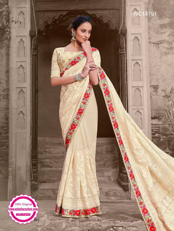Off White Georgette Saree NC14791