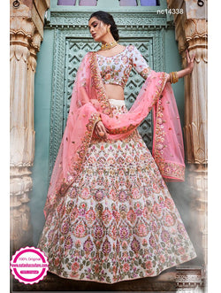 Off White Georgette Wedding Wear Lehenga Choli NC14338