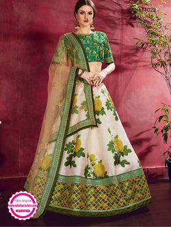 Off White & Green Silk Floral Lehenga Choli NC14023