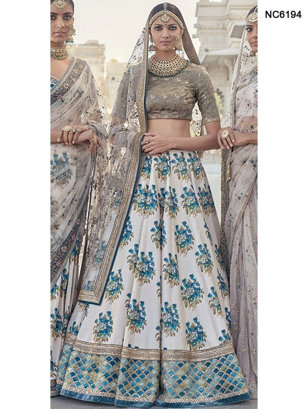 Off White & Grey Silk Floral Bollywood Lehenga Choli NC6194