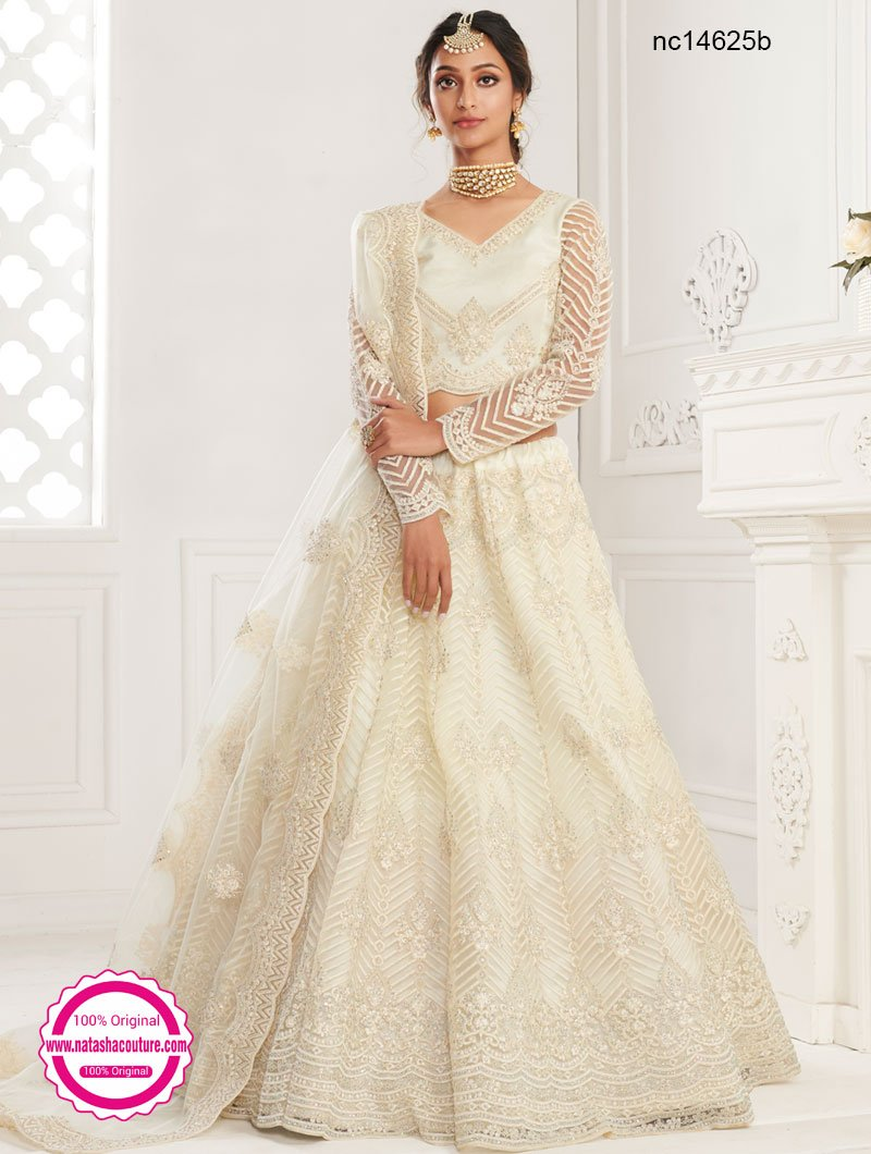Off White Net Bridal Lehenga Choli NC14625B