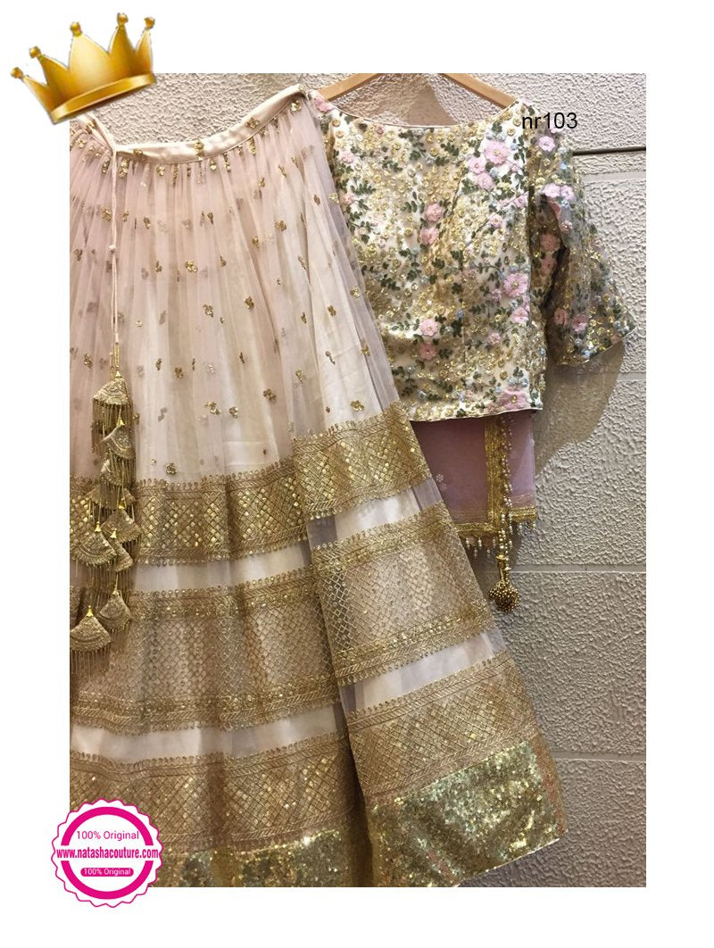 Off White Net Handwork Exclusive Designer Lehenga Choli NR103