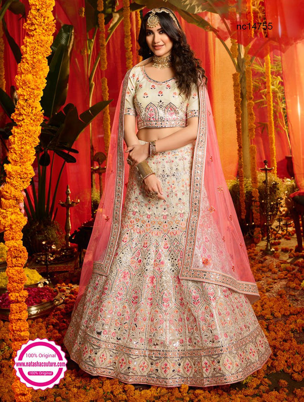 Off White Organza Lehenga Choli NC14755