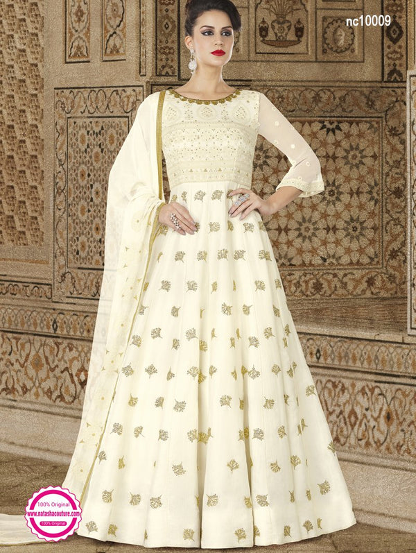 Off White Satin Anarkali Suit NC10009