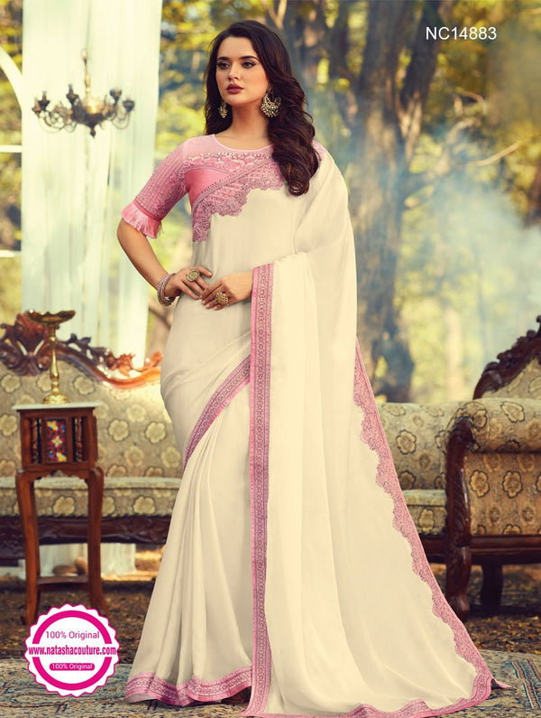 Off White Silk Saree NC14883